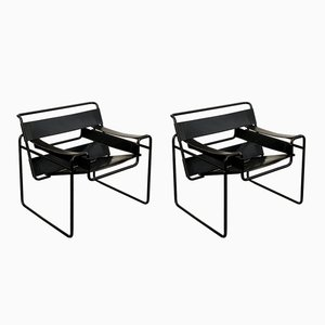 Black Leather Bauhaus B3 Wassily Armchairs by Marcel Breuer for Gavina, 1972, Set of 2
