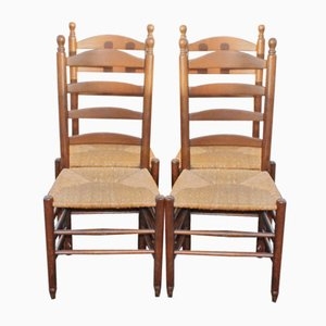 Vintage Oak Ladderback Dining Chairs, 1920s, Set of 4