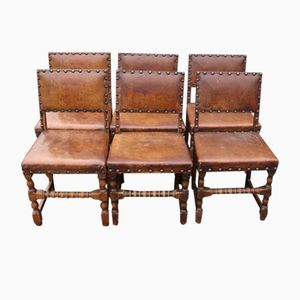 Antique Leather and Oak Chairs, 1910s, Set of 6