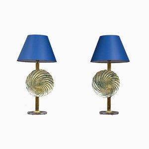 Lámparas de mesa vintage grandes de cristal de Murano, años 80. Juego de 2
