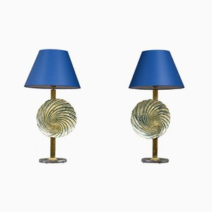 Large Vintage Murano Glass Table Lamps, 1980s, Set of 2