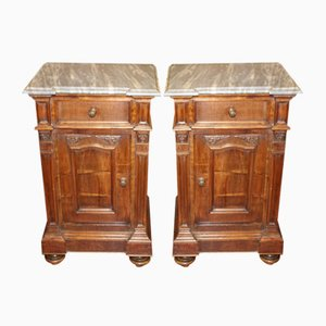 Walnut and Marble Nightstands, 1910s, Set of 2