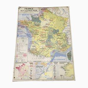 Französische Vintage Landkarte zur Landwirtschaft, 1963