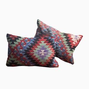 Cojín Kilim Southwestern Design de lana y algodón verde y azul hecho a mano de Zencef