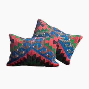 Cojín Kilim Southwestern Design de lana y algodón verde, roja y azul hecho a mano de Zencef
