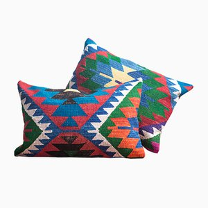Southwestern Design Green-Red-Blue Handmade Wool & Cotton Kilim Pillow by Zencef