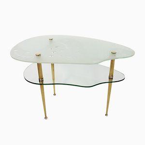 Table d'Appoint Mid-Century en Verre Taillé & en Laiton, Italie, 1950s