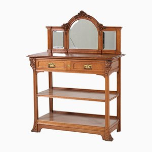 Art Nouveau French Oak Buffet with Mirror, 1900s