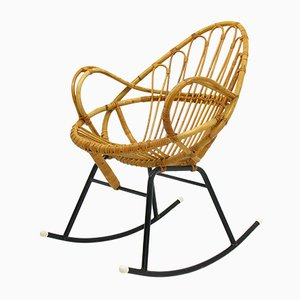Dutch Rattan Hoop Rocking Chair by Dirk van Sliedregt for Rohé Noordwolde, 1960s