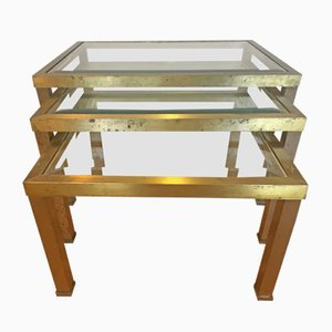 Mesas nido vintage de vidrio y latón