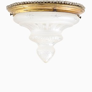 Art Nouveau French Brass & Cut Blown Glass Flush Mount Ceiling Lamp, 1900s