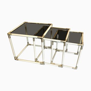 Brass and Smoked Glass Nesting Tables by Tommaso Barbi, 1970s