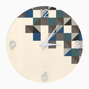 Dolcevita Brio Triangles Gray Inlaid Wood Wall Clock from Lignis