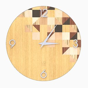 Dolcevita Brio Triangles Inlaid Wood Wall Clock from Lignis