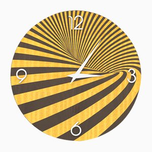 Dolcevita Optical Inlaid Brown & Yellow Wood Wall Clock from Lignis