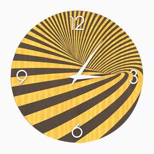 Horloge Murale Dolcevita Optical en Bois Incrusté Marron et Jaune de Lignis