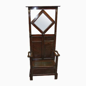 Art Nouveau Hallway Chair with Hooks & Mirror