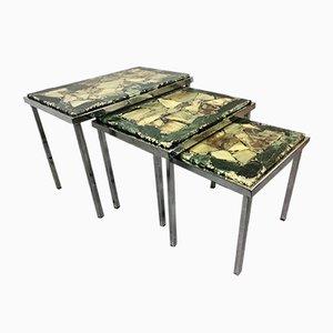 Tavoli ad incastro in metallo cromato e marmo, anni '60