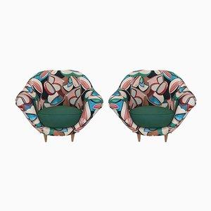 Butacas Mid-Century de lino de Federico Munari, años 50. Juego de 2