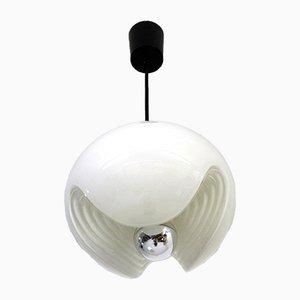 Lámpara colgante de vidrio opalino blanco de Peill & Putzler, años 70