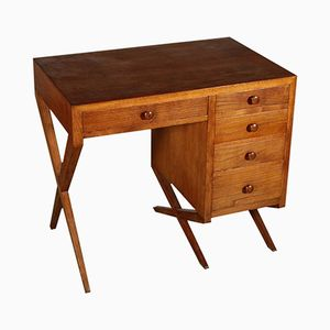 Veneered Solid Oak Writing Desk, 1950s