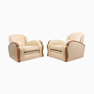 Art Deco Leather Tank Lounge Chairs, Set of 2