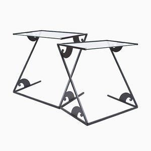 Vintage Glass Side Tables by Maroeska Metz, Set of 2