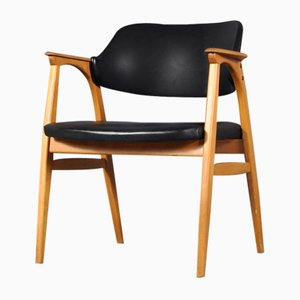 Danish Oak and Faux Leather Armchair, 1960s
