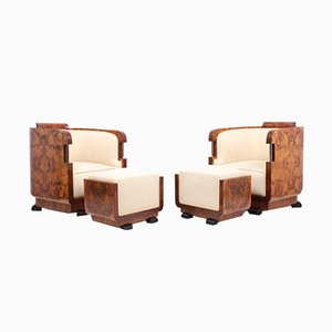 Pair of Italian Art Deco Armchairs and Stools, 1920s