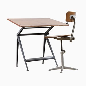Vintage Drawing Table and Stool set by Friso Kramer for Ahrend De Cirkel