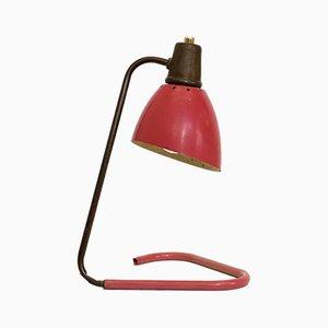 Lámpara de mesa francesa roja y dorada, años 50