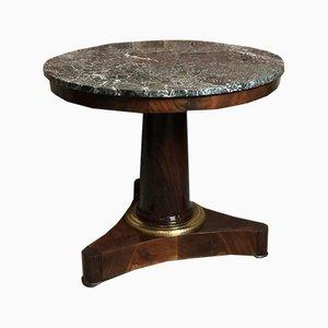 Tavolino vintage in mogano e marmo verde