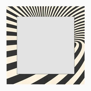 Dolcevita Optical Black & White Inlaid Ash Wall Mirror from Lignis