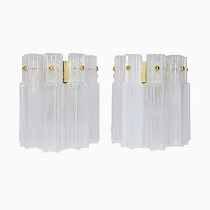 Handblown Glass Wall Lights from Glashütte Limburg, 1960s, Set of 2