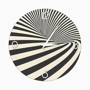 Dolcevita Optical Inlaid Wood Wall Clock from Lignis