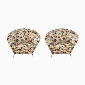 Fauteuils Design avec Tissu Floral, Italie, 1960s, Set de 2