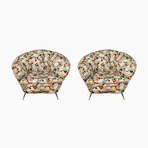 Italian Design Armchairs with Floral Fabric, 1960s, Set of 2