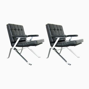 Leather Armchairs with Removable Armrests by Walter Frey for Stella, Set of 2