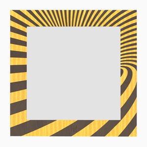 Dolcevita Optical Brown & Yellow Inlaid Wood Wall Mirror from Lignis