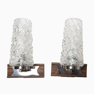 Apliques de metal cromado y madera de imitación, años 60. Juego de 2