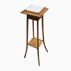 Vintage Wood & Ceramic Side Table
