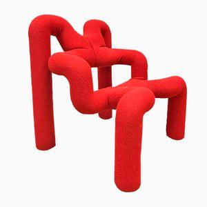Vintage Red Lounge Chair by Terje Ekstrøm for Stokke Varier, 1970s