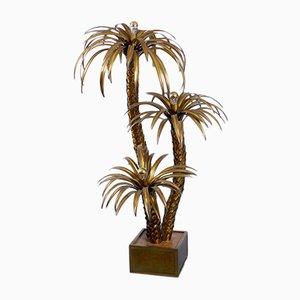 Lámpara de pie grande en forma de palmera de latón de Maison Jansen, años 70