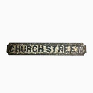Antikes Kirchen-Straßenschild aus Gusseisen