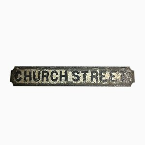 Antique Cast Iron Church Street Sign
