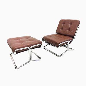Vintage Lounge Chair & Ottoman, 1970s