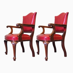 Victorian Oak & Red Leather Armchairs, Set of 2