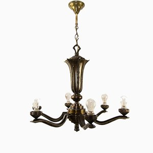 Art Deco Bronze Chandelier, 1920s