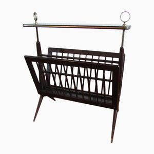Vintage Mahogany Retractable Magazine Rack, 1950s