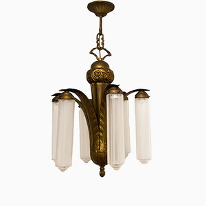 Art Deco Bronze & Frosted Glass Chandelier, 1920s
